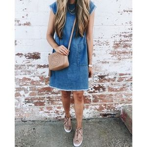 Nordstrom BP Chambray Dress with Raw Hem